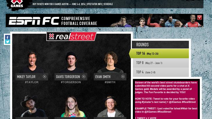 Xゲーム【Real Street 2014】投票ページがオープン!世界的なスケボーコンテストにあなたも参加しませんか?